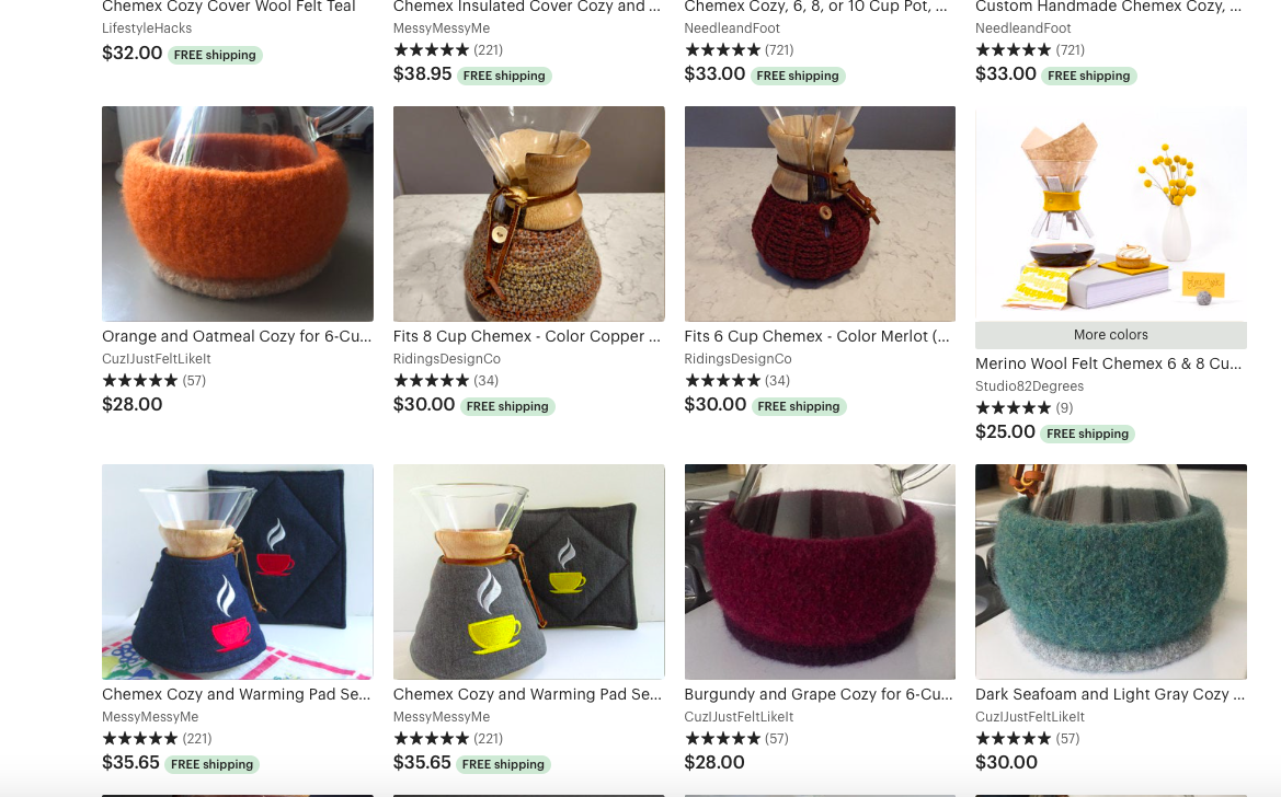 I was joking. But apparently,​​​ Chemex sweaters are a thing.
